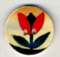 "87020 - Red Tulip on Beige 3/4"" diameter - 1 per pkg"
