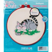 "A Cat And A Mouse Needlepoint Kit-6"" Round 14 Count"