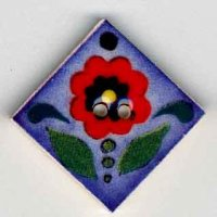"87013 - Red Flower on Blue 1"" x 1"" diagonally - 1 per pkg"
