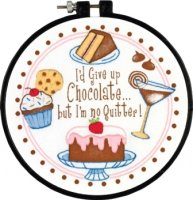 "I'm No Quitter Stamped Cross Stitch Kit-6"" Round 14 Count"