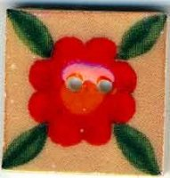 "87021 - Leafy Red Bloom 3/4"" x 3/4"" - 1 per pkg"