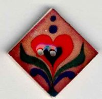 "87012 - Red Heart on Terracotta 1"" x 1"" diagonally - 1 per pkg"