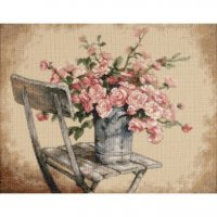 "Roses On White Chair (KIT)-14""X11"" 14 Count"