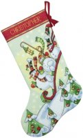 "Sledding Snowmen Stocking (KIT)-16"" Long 14 Count"