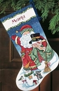 Santa & Snowman Christmas Stocking (8714)