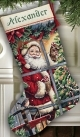 Candy Cane Santa Stocking (Gold)-08778