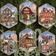 08785-Christmas Village Ornaments (Gold)
