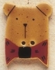 43001 - Gold Teddy Bear with Red Bow - 7/8in x 1in