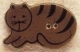 43014L - Brown Cat lying down facing left - 1 1/4in x 3/4in