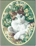 Brown & White Cat by John Stubbs - Heritage Stitchcraft #HCK345