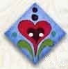 "87011 - Red Heart on Blue 1"" x 1"" diagonally -  1 per pkg"