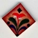 "87014 - Red Flower on Terracotta 1"" x 1"" diagonally -  1 per pkg"